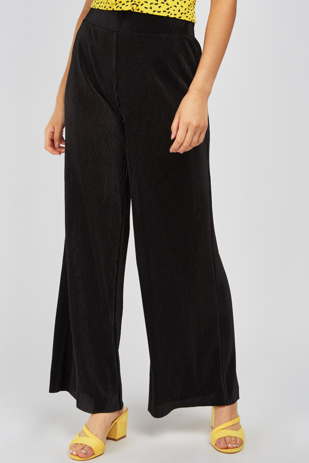 Plisse Wide Leg Trousers Black Just 163 5