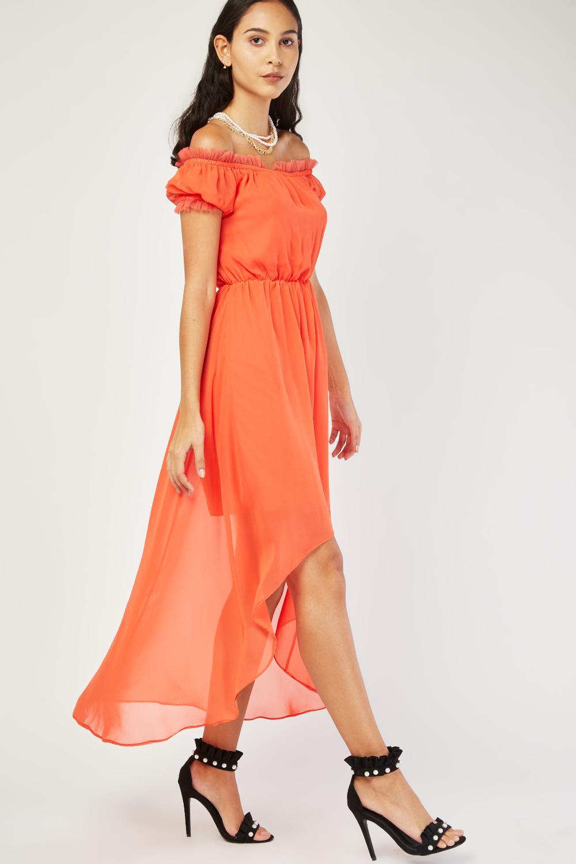 Gathered Net Trim Chiffon Dress 4 Colours Just 163 5