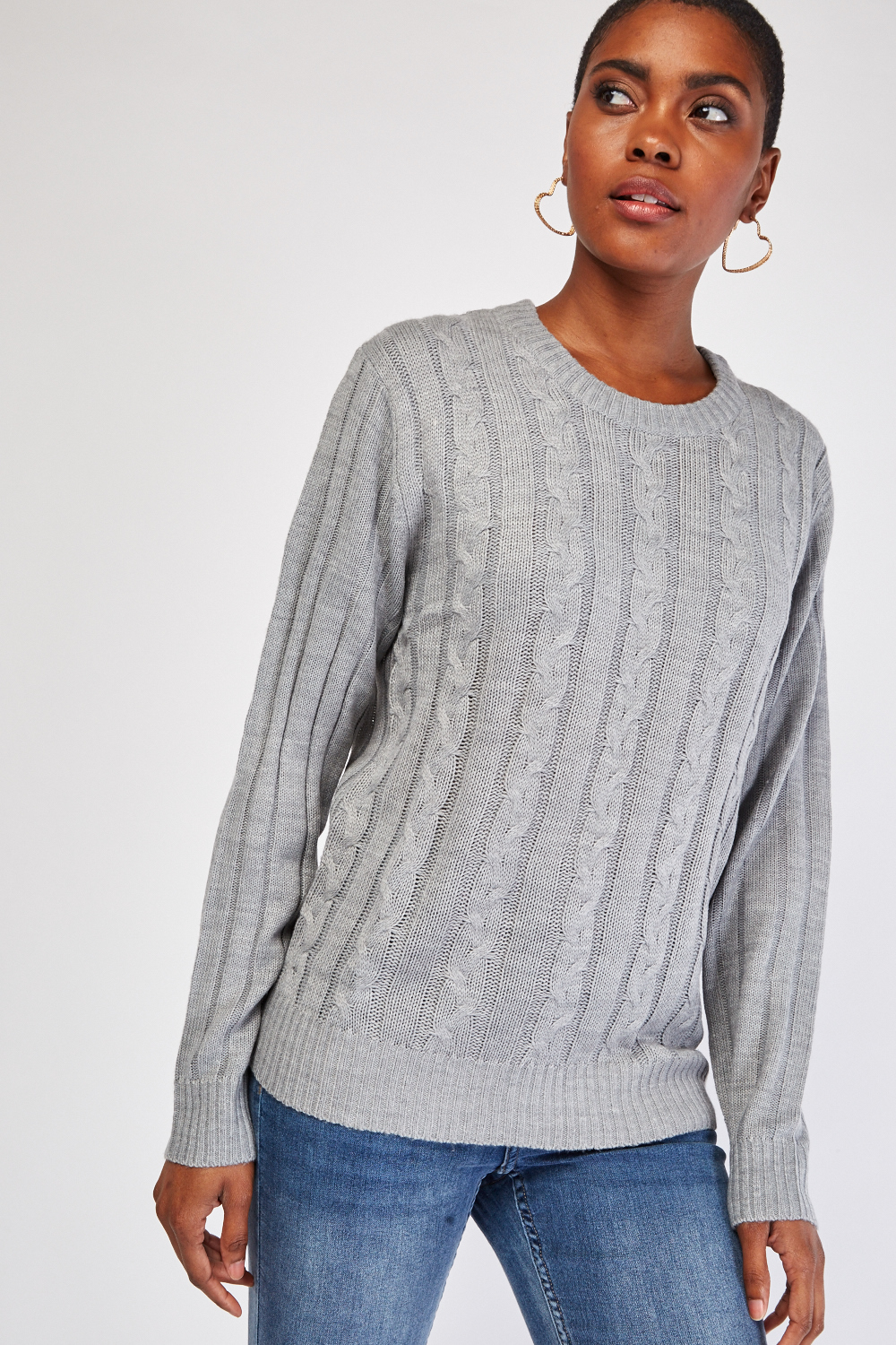 distinctive style new authentic beautiful and charming Cable Knit Long Sleeve Chunky Jumper - Just £5