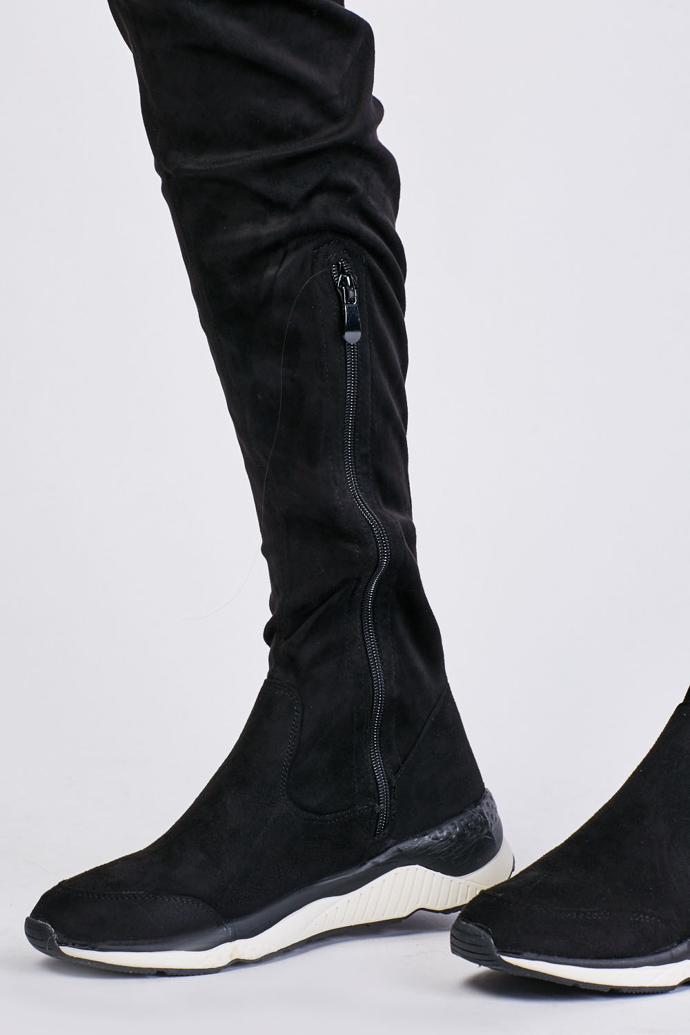 Suedette Knee High Trainers Boots - Just $6