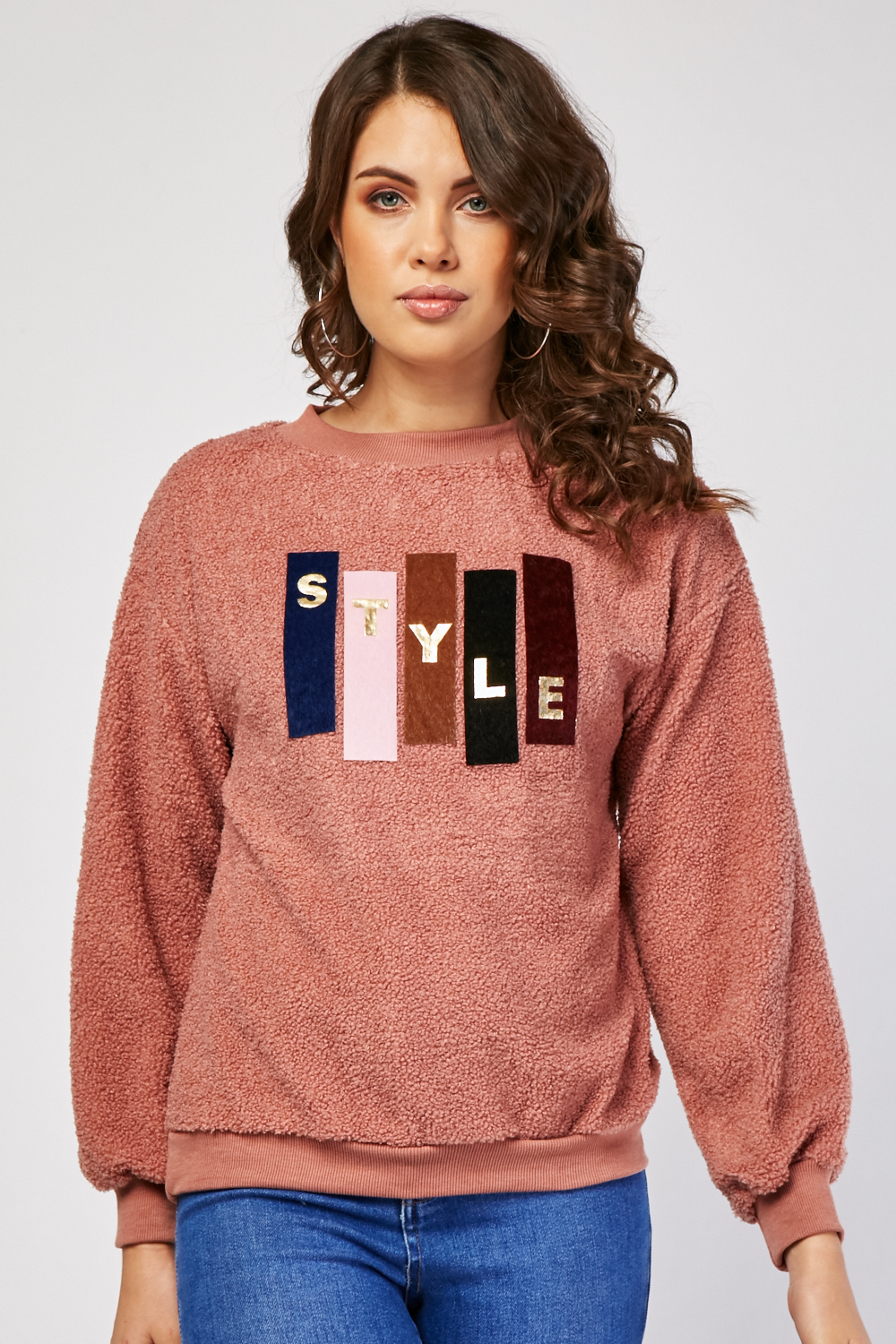 Colour Block Applique Teddy Jumper