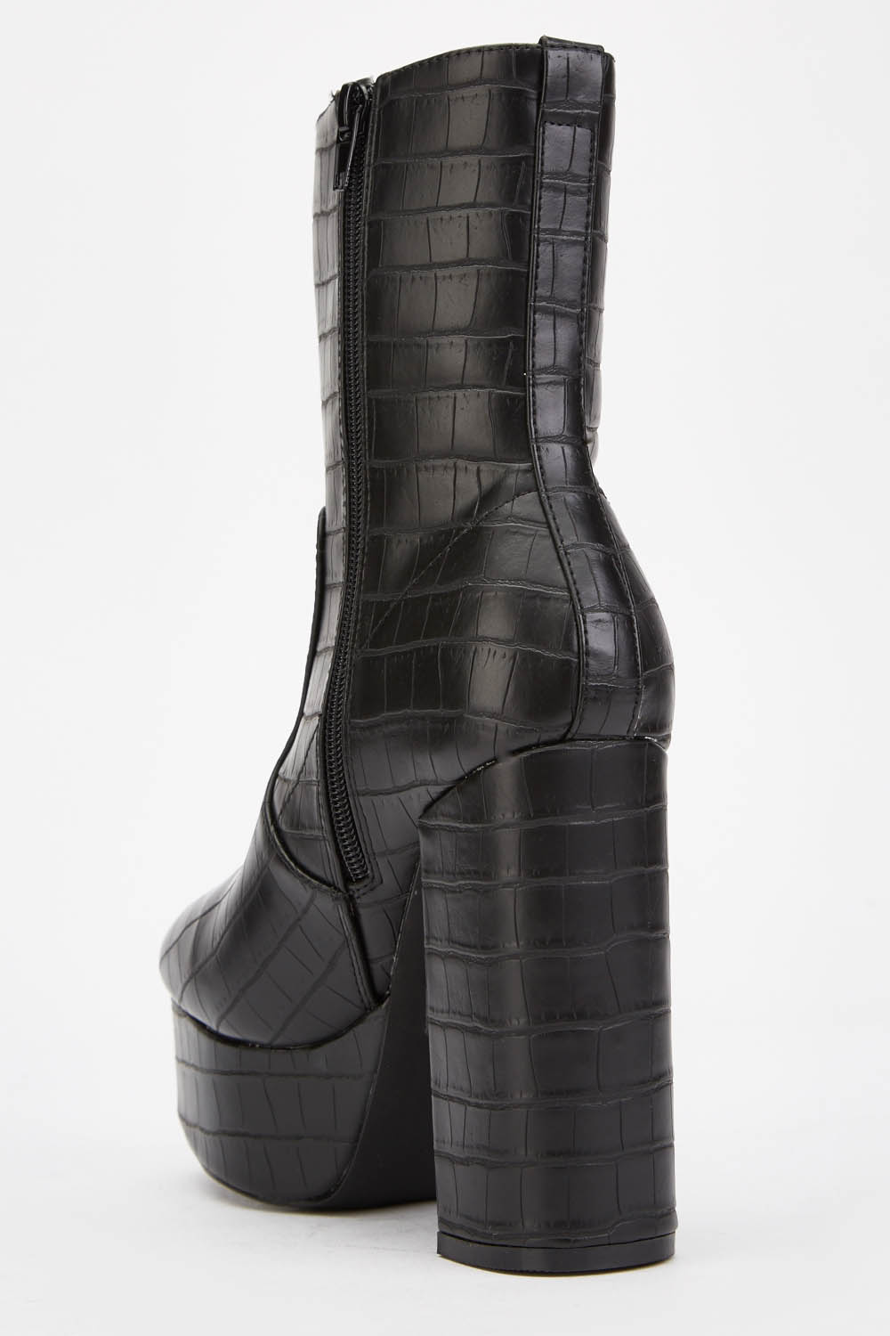 Mock Croc Chunky Boots - Just $6
