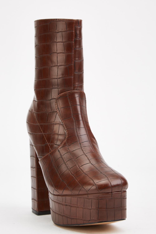 croc platform boots