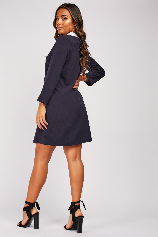 Multicolored Jewel Collar Short Shift dress
