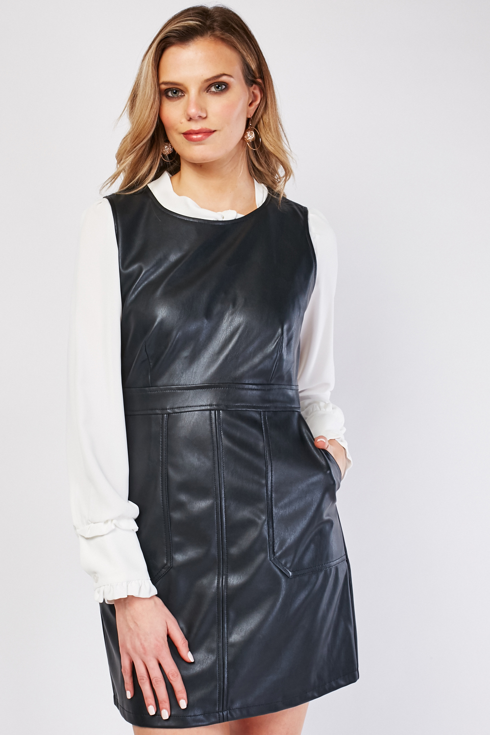 Sleeveless Mini Faux Leather Dress