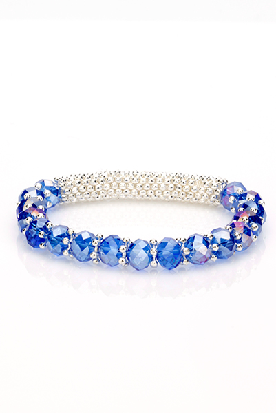 Crystal Elastic Braid Bangle Bracelet