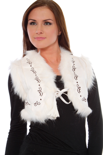 Faux Fur Trim Cropped & Embroidered Gilet