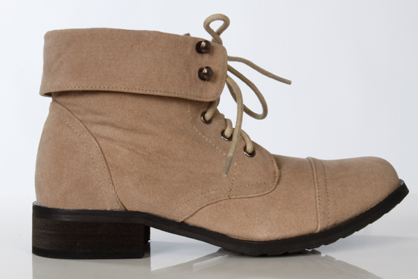 Teenagers Folded Collar Suedette Boots