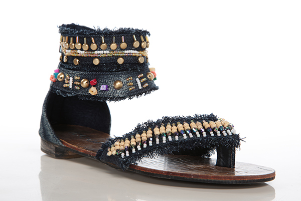 Beaded Calf Thong Sandals
