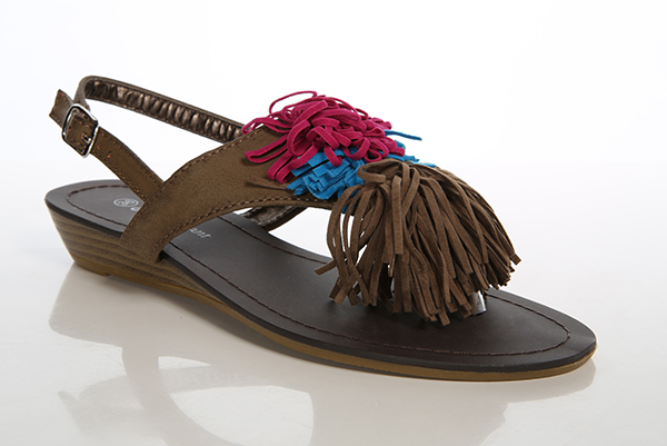 Colourful Fringe Suedette Sandals