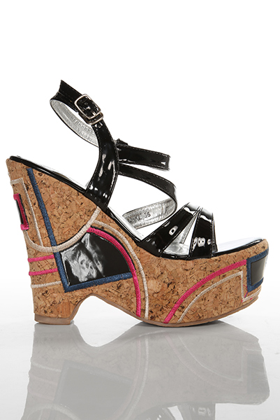 Patchwork Patent PVC Wedge Sandals