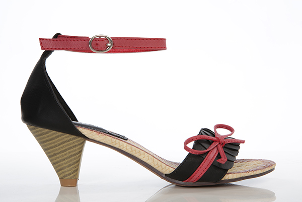 Contrast Ankle Strap & Bow Sandals