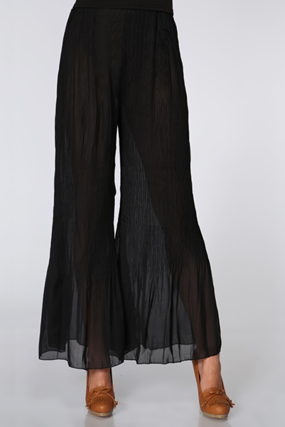 Sheer & Ruched Chiffon Flared Trousers