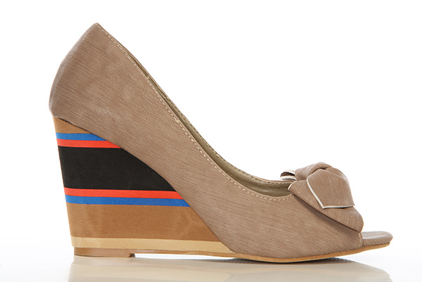 Colourful Foam Wedge Peep Toe Shoes