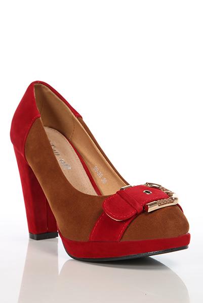 Buckle Toe Detail Two Tone Suedette Shoes