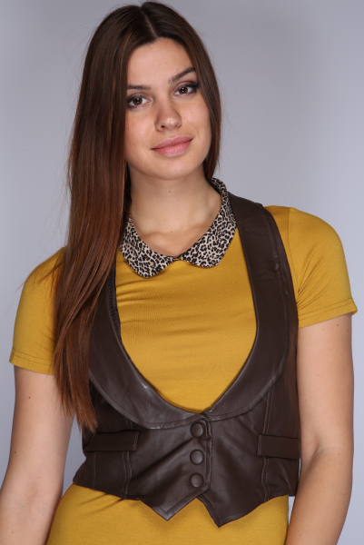Faux Leather Waistcoat With Round Lapel