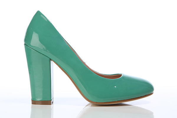 Patent PVC Thick Heel Shoes
