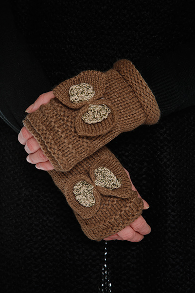 Lurex Bow Knitted Mittens