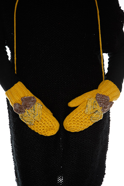 Two Tone Double Bow Attached Mittens