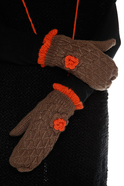 Crochet Flower Detailed Crochet Attached Mittens
