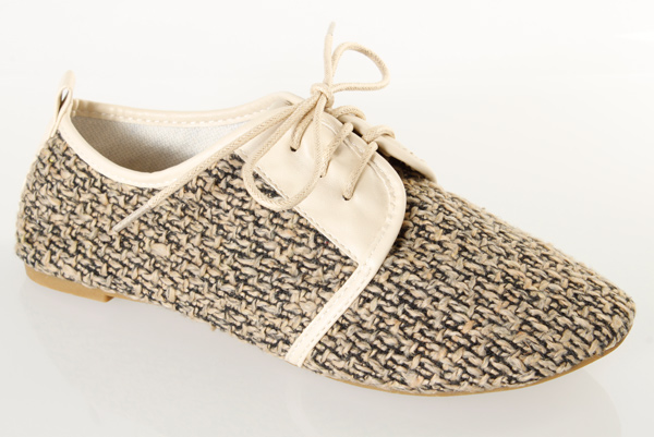 Woven Canvas Lace Up Flat Shoes